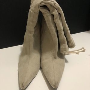 Cream, Heeled Boots